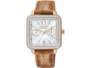 Citizen FD1053-00D Eco-Drive Silhouette Rose Gold Tone Case Mother Of Pearl Dial Swarovski Crystal Bezel Brown Leather Strap