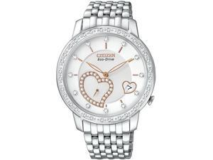 Citizen EV1000-58A Eco-Drive Stainless Steel Case and Bracelet Diamond Accents Heart Shaped Sub-Dial Date Display