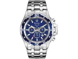 Bulova 98B163 Stainless Steel Case and Bracelet Marine Star Chronograph Blue Dial Date Display