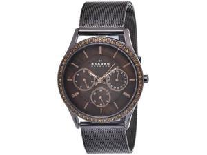 Skagen 347LDD Stainless Steel Case and Mesh Bracelet Brown Dial Day and Date