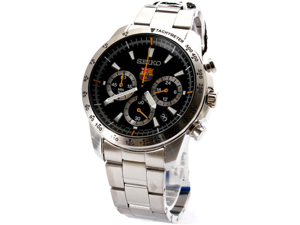 Seiko SSB073 FC Barcelona Stainless Steel Case and Bracelet Chronograph Black Dial Date Display