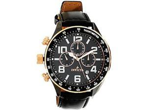 Invicta 11252 Men's I Force Lefty Black Dial Black Leather Strap Chronograph Bla