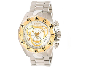 Invicta 11002 Men's Reserve Excursion Gold Tone Bezel Textured Silver Tone Dial