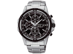 Seiko SSC147 Stainless Steel Case and Bracelet Black Tone Dial Date Display Solar Alarm Chronograph