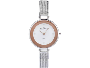 Skagen 323SSR Stainless Steel Case and Bracelet Mother of Pearl Dial Rose Gold Bezel