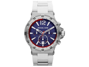 Michael Kors MK8297 Stainless Steel Case Silicone and Steel Bracelet Chronograph Blue Tone Dial