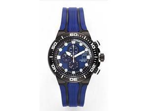 Citizen CA0515-02L Eco-Drive Diver Chronograph Stainless Steel Case Rubber Bracelet Blue Tone Dial