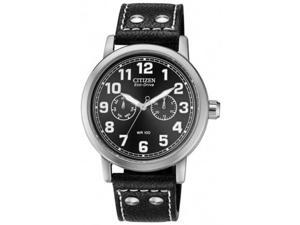 Citizen AO9030-21E Avion Stainless Steel Case Black Dial Day and Date Display Leather Strap