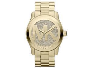 Michael Kors Runway Gold Dial Crystal Pave Gold-tone Ladies Watch MK5706