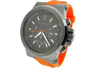 Michael Kors Dylan Chronograph Gunmetal Dial Orange Rubber Mens Watch MK8296
