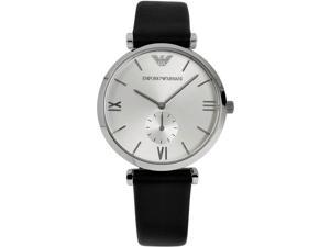 Armani AR1674 Classic Retro Stainless Steel Case Leather Strap Silver Tone Dial