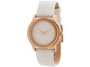 DKNY NY8802 Rose Gold Tone Stainless Steel Case Leather Strap White Tone Dial