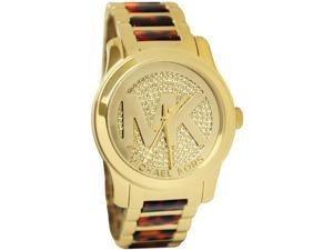 Michael Kors Rubway Champagne Dial Gold-tone & Runway Tortoise Acetate Watch