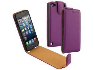Evecase OhMyCase Leather Cover Case for Apple iPod Touch iTouch 5G The new iPod Touch 5 5th Generation (2012 Version) (Purple)