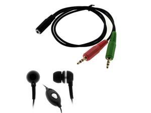 GTMax 3.5mm Soft Gel Microphone Headset + Headset to PC adapter for Using a 3.5mm iPhone/Smartphone Headset With Your PC, ...