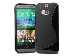 Evecase S-Shape TPU Case Cover for 2014 New HTC One (M8) (Verizon, AT&T, Sprint, T-Mobile Versions Compatible) - Black