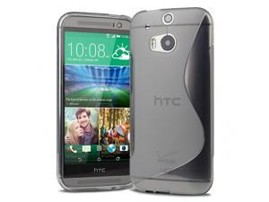 Evecase S-Shape TPU Case Cover for 2014 New HTC One (M8) (Verizon, AT&T, Sprint, T-Mobile Versions Compatible) - Gray
