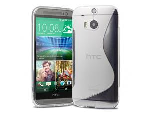 Evecase S-Shape TPU Case Cover Skin for 2014 New HTC One M8 - Frosted Clear