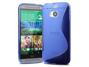 Evecase S-Shape TPU Case Cover for 2014 New HTC One (M8) (Verizon, AT&T, Sprint, T-Mobile Versions Compatible) - Blue