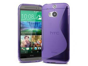 Evecase S-Shape TPU Case Cover for 2014 New HTC One (M8) (Verizon, AT&T, Sprint, T-Mobile Versions Compatible) - Purple