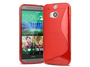 Evecase S-Shape TPU Case Cover for 2014 New HTC One (M8) (Verizon, AT&T, Sprint, T-Mobile Versions Compatible) - Red