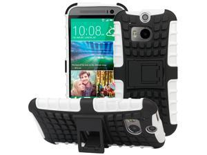 Evecase OFFROAD Dual Layer Grip Case with Kick-Stand for 2014 New HTC One (M8) - White