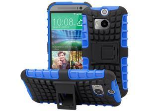 Evecase OFFROAD Dual Layer Grip Case with Kick-Stand for 2014 New HTC One (M8) - Blue