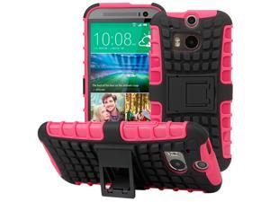 Evecase OFFROAD Dual Layer Grip Case with Kick-Stand for 2014 New HTC One (M8) - Hot Pink
