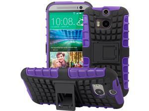 Evecase OFFROAD Dual Layer Grip Case with Kick-Stand for 2014 New HTC One (M8) - Purple