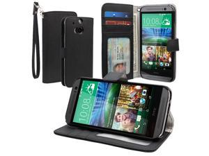 Evecase Wallet Folio Leather Case with Credit Card ID Pockets and Stand for 2014 New HTC One (M8) - Black