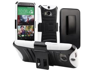 Evecase ROBUST Rugged Dual Layer Holster Case with Belt Clip and Kick-Stand for 2014 New HTC One (M8) - White