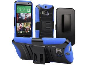 Evecase ROBUST Rugged Dual Layer Holster Case with Belt Clip and Kick-Stand for 2014 New HTC One (M8) - Blue