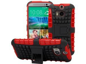 Evecase OFFROAD Dual Layer Grip Case with Kick-Stand for 2014 New HTC One (M8) - Red