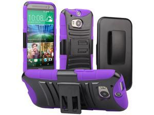Evecase ROBUST Rugged Dual Layer Holster Case with Belt Clip and Kick-Stand for 2014 New HTC One (M8) - Purple