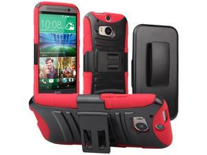 Evecase ROBUST Rugged Dual Layer Holster Case with Belt Clip and Kick-Stand for 2014 New HTC One (M8) - Red