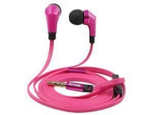 iKross Hot Pink Silicone Earbud Stereo Handsfree Headset with Microphone for Microsoft Surface Pro 3, Surface Pro 2, Surface ...