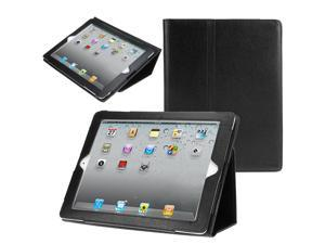 Evecase Apple New iPad / iPad 3 PU Leather  Stand Case - Black