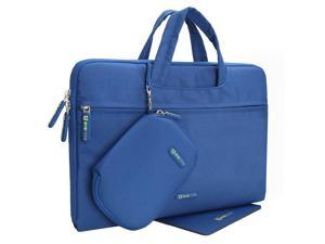 Evecase HP Stream 13 Laptop Dual Layer Soft Sleeve Bag Carrying Case Briefcase with Handle + Pouch Case and Mouse Pad - Blue