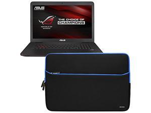 Evecase ASUS ROG 17.3-Inch GL771 Series Gaming Laptop Sleeve, Ultra-slim Portable Compact Neoprene Padded Case Bag w/ Accessory Pocket – Black/Blue