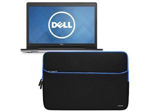 Evecase Dell Inspiron 17 5000 Series 17.3inch Laptop Sleeve, Portable Slim Neoprene Bubble Padded Interior Case Bag w/ Accessory Pocket – Black/Blue