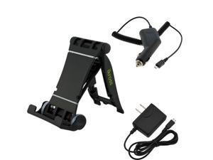 iKross IKST13B Portable Folding Stand + Micro-USB Car Charger Vehicle Power Adapter + Micro USB Home Wall Travel AC Charger ...