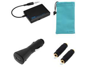 iKross Bluetooth Stereo Music Audio Receiver + Microfiber Pouch Case + Car Charger Adapter for Samsung Galaxy S II Skyrocket ...