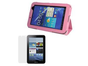 EveCase Pink Folio PU Leather Protective Cover Case with Built-in Stand + Clear LCD Screen Guard for Samsung Galaxy Tab 2 ...