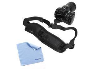 GTMax Black DSLR Camera Neck/Shoulder Belt Strap with Quick Setup Plate + Microfiber Cleaning Cloth for Canon Digital SLR ...