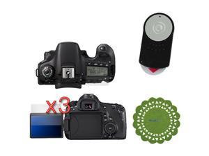 GTMax 3x for Canon EOS 60D Digital Camera Premium Clear LCD Screen Protector+Replacement RC-6 Remote Control+Green Cup Pad