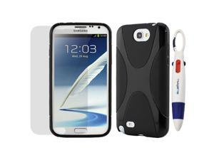 GTMax X-Shape TPU Case Cover and Screen Protector for Samsung Galaxy Note 2 II N7100 with *4-Color Clip Pen* - Black