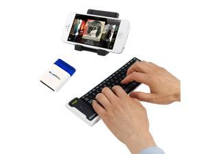 iKross Portable Folding Stand + Bluetooth Wireless Flexible Keyboard + Mini Screen Brush for Apple iPhone 4S, 4, 3G S&#59; Samsung ...