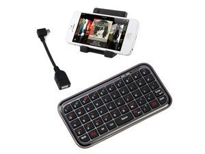 iKross Black Portable Folding Stand + Mini Bluetooth Wireless Keyboard + Micro-USB OTG to USB 2.0 Adapter for Samsung Galaxy ...