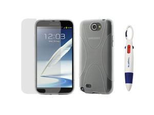 GTMax Clear X-Shape TPU Case Cover and Screen Protector for Samsung Galaxy Note 2 II N7100 plus *4-Color Clip Pen*