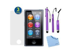 GTMax 3-Pack Premium HD Guard Film Clear LCD Screen Protectors plus 3pcs Purple Stylus for Apple iPod Nano 7 7G 7th Generation ...